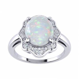 SuperJeweler 1.66 Carat Opal & Halo Diamond Ring in 14K White Gold (3.7 g),  by SuperJeweler