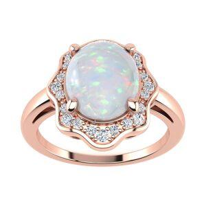 SuperJeweler 1.66 Carat Opal & Halo Diamond Ring in 14K Rose Gold (3.7 g),  by SuperJeweler