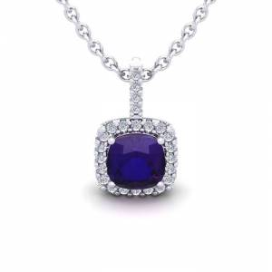 SuperJeweler 1 Carat Cushion Cut Amethyst & Halo Diamond Necklace in 14K White Gold (1.5 g), 18 Inches,  by SuperJeweler