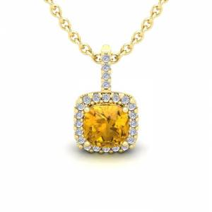 SuperJeweler 1 Carat Cushion Cut Citrine & Halo Diamond Necklace in 14K Yellow Gold (1.5 g), 18 Inches,  by SuperJeweler