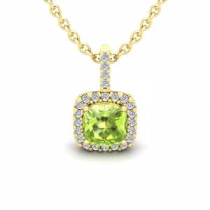 SuperJeweler 1.25 Carat Cushion Cut Peridot & Halo Diamond Necklace in 14K Yellow Gold (1.5 g), 18 Inches,  by SuperJeweler