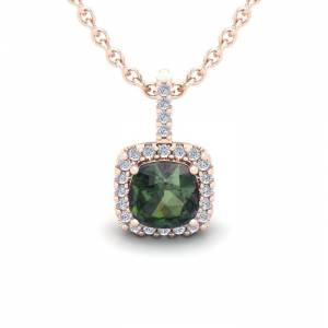 SuperJeweler 1 1/3 Carat Cushion Cut Mystic Topaz & Halo Diamond Necklace in 14K Rose Gold (1.5 g), 18 Inches,  by SuperJeweler