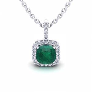 SuperJeweler 1.25 Carat Cushion Cut Emerald & Halo Diamond Necklace in 14K White Gold (1.5 g), 18 Inches,  by SuperJeweler