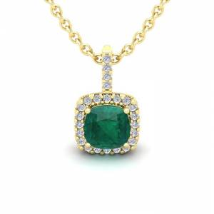 SuperJeweler 1.25 Carat Cushion Cut Emerald & Halo Diamond Necklace in 14K Yellow Gold (1.5 g), 18 Inches,  by SuperJeweler