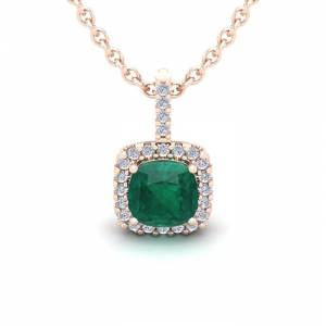 SuperJeweler 1.25 Carat Cushion Cut Emerald & Halo Diamond Necklace in 14K Rose Gold (1.5 g), 18 Inches,  by SuperJeweler
