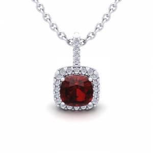 SuperJeweler 1.25 Carat Cushion Cut Garnet & Halo Diamond Necklace in 14K White Gold (1.5 g), 18 Inches,  by SuperJeweler