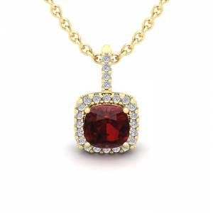 SuperJeweler 1.25 Carat Cushion Cut Garnet & Halo Diamond Necklace in 14K Yellow Gold (1.5 g), 18 Inches,  by SuperJeweler