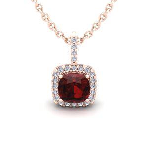 SuperJeweler 1.25 Carat Cushion Cut Garnet & Halo Diamond Necklace in 14K Rose Gold (1.5 g), 18 Inches,  by SuperJeweler