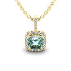 SuperJeweler 1 Carat Cushion Cut Green Amethyst & Halo Diamond Necklace in 14K Yellow Gold (1.5 g), 18 Inches,  by SuperJeweler