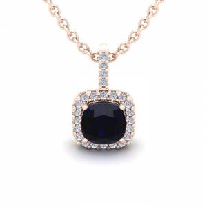 SuperJeweler 1.25 Carat Cushion Cut Sapphire & Halo Diamond Necklace in 14K Rose Gold (1.5 g), 18 Inches,  by SuperJeweler