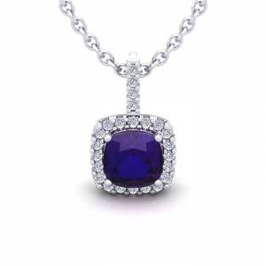 SuperJeweler 1 3/4 Carat Cushion Cut Amethyst & Halo Diamond Necklace in 14K White Gold (2 g), 18 Inches,  by SuperJeweler