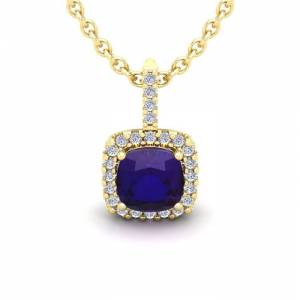 SuperJeweler 1 3/4 Carat Cushion Cut Amethyst & Halo Diamond Necklace in 14K Yellow Gold (2 g), 18 Inches,  by SuperJeweler