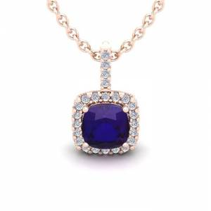 SuperJeweler 1 3/4 Carat Cushion Cut Amethyst & Halo Diamond Necklace in 14K Rose Gold (2 g), 18 Inches,  by SuperJeweler