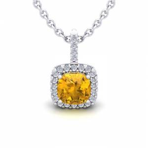SuperJeweler 1 3/4 Carat Cushion Cut Citrine & Halo Diamond Necklace in 14K White Gold (2 g), 18 Inches,  by SuperJeweler