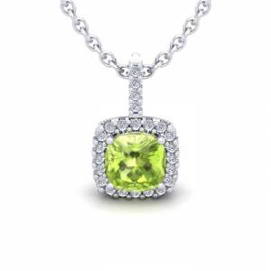 SuperJeweler 1 3/4 Carat Cushion Cut Peridot & Halo Diamond Necklace in 14K White Gold (2 g), 18 Inches,  by SuperJeweler