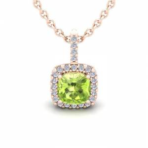 SuperJeweler 1 3/4 Carat Cushion Cut Peridot & Halo Diamond Necklace in 14K Rose Gold (2 g), 18 Inches,  by SuperJeweler