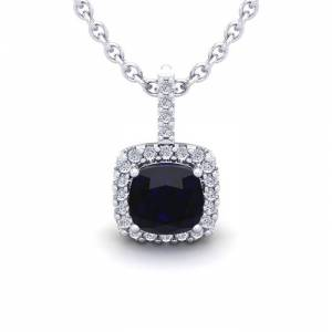 SuperJeweler 2 Carat Cushion Cut Sapphire & Halo Diamond Necklace in 14K White Gold (2 g), 18 Inches,  by SuperJeweler