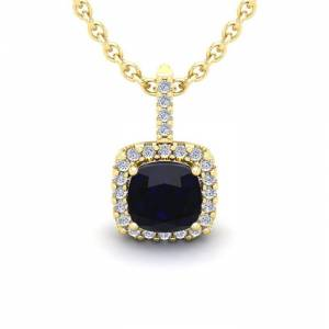 SuperJeweler 2 Carat Cushion Cut Sapphire & Halo Diamond Necklace in 14K Yellow Gold (2 g), 18 Inches,  by SuperJeweler