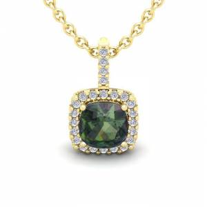 SuperJeweler 2.5 Carat Cushion Cut Mystic Topaz & Halo Diamond Necklace in 14K Yellow Gold (2.4 g), 18 Inches,  by SuperJeweler