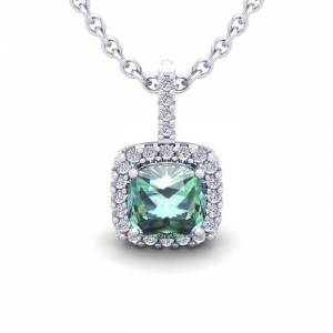 SuperJeweler 2.5 Carat Cushion Cut Green Amethyst & Halo Diamond Necklace in 14K White Gold (2.4 g), 18 Inches,  by SuperJeweler