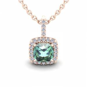 SuperJeweler 2.5 Carat Cushion Cut Green Amethyst & Halo Diamond Necklace in 14K Rose Gold (2.4 g), 18 Inches,  by SuperJeweler