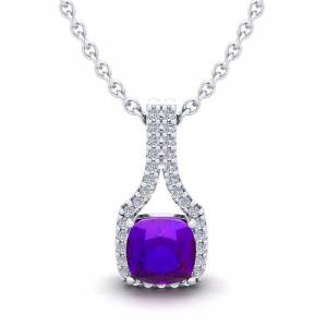 SuperJeweler 1 Carat Cushion Cut Amethyst & Classic Halo Diamond Necklace in 14K White Gold (2.1 g), 18 Inches,  by SuperJeweler