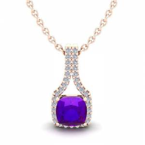 SuperJeweler 1 Carat Cushion Cut Amethyst & Classic Halo Diamond Necklace in 14K Rose Gold (2.1 g), 18 Inches,  by SuperJeweler