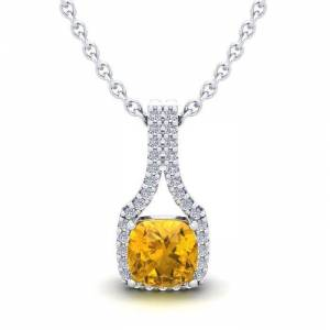 SuperJeweler 1 Carat Cushion Cut Citrine & Classic Halo Diamond Necklace in 14K White Gold (2.1 g), 18 Inches,  by SuperJeweler