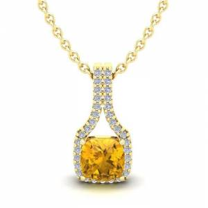 SuperJeweler 1 Carat Cushion Cut Citrine & Classic Halo Diamond Necklace in 14K Yellow Gold (2.1 g), 18 Inches,  by SuperJeweler