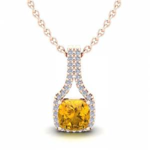 SuperJeweler 1 Carat Cushion Cut Citrine & Classic Halo Diamond Necklace in 14K Rose Gold (2.1 g), 18 Inches,  by SuperJeweler