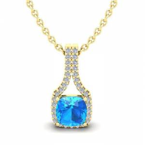 SuperJeweler 1 1/3 Carat Cushion Cut Blue Topaz & Classic Halo Diamond Necklace in 14K Yellow Gold (2.1 g), 18 Inches,  by SuperJeweler
