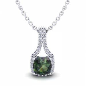 SuperJeweler 1.5 Carat Cushion Cut Mystic Topaz & Classic Halo Diamond Necklace in 14K White Gold (2.1 g), 18 Inches,  by SuperJeweler