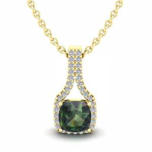 SuperJeweler 1.5 Carat Cushion Cut Mystic Topaz & Classic Halo Diamond Necklace in 14K Yellow Gold (2.1 g), 18 Inches,  by SuperJeweler