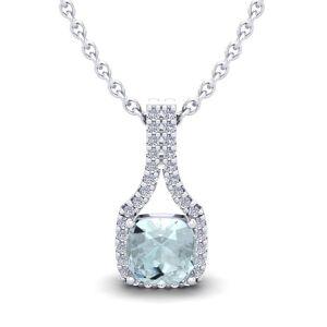 SuperJeweler 1 Carat Cushion Cut Aquamarine & Classic Halo Diamond Necklace in 14K White Gold (2.1 g), 18 Inches,  by SuperJeweler