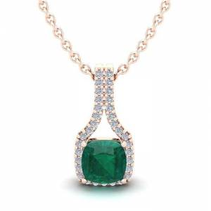 SuperJeweler 1 1/3 Carat Cushion Cut Emerald & Classic Halo Diamond Necklace in 14K Rose Gold (2.1 g), 18 Inches,  by SuperJeweler