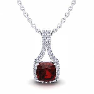 SuperJeweler 1 1/3 Carat Cushion Cut Garnet & Classic Halo Diamond Necklace in 14K White Gold (2.1 g), 18 Inches,  by SuperJeweler