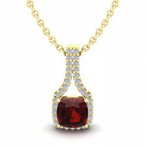 SuperJeweler 1 1/3 Carat Cushion Cut Garnet & Classic Halo Diamond Necklace in 14K Yellow Gold (2.1 g), 18 Inches,  by SuperJeweler