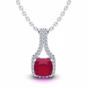 SuperJeweler 1.5 Carat Cushion Cut Ruby & Classic Halo Diamond Necklace in 14K White Gold (2.1 g), 18 Inches,  by SuperJeweler