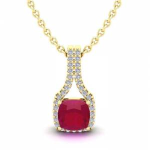 SuperJeweler 1.5 Carat Cushion Cut Ruby & Classic Halo Diamond Necklace in 14K Yellow Gold (2.1 g), 18 Inches,  by SuperJeweler