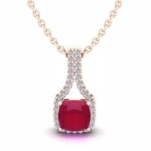 SuperJeweler 1.5 Carat Cushion Cut Ruby & Classic Halo Diamond Necklace in 14K Rose Gold (2.1 g), 18 Inches,  by SuperJeweler