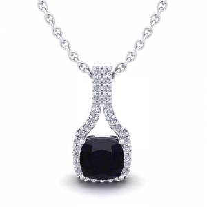 SuperJeweler 1.25 Carat Cushion Cut Sapphire & Classic Halo Diamond Necklace in 14K White Gold (2.1 g), 18 Inches,  by SuperJeweler