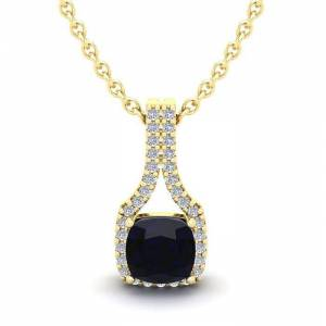 SuperJeweler 1.25 Carat Cushion Cut Sapphire & Classic Halo Diamond Necklace in 14K Yellow Gold (2.1 g), 18 Inches,  by SuperJeweler