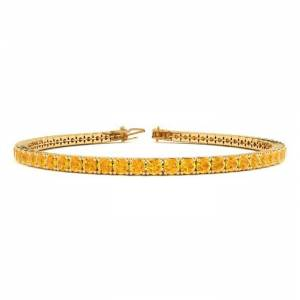SuperJeweler 3 1/2 Carat Citrine Tennis Bracelet in 14K Yellow Gold (8.7 g), 6 1/2 Inches by SuperJeweler