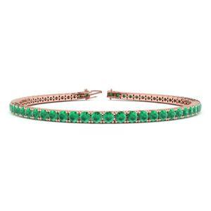 SuperJeweler 4 Carat Emerald Tennis Bracelet in 14K Rose Gold (8.1 g), 6 Inches by SuperJeweler
