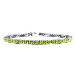 SuperJeweler 4 Carat Peridot Tennis Bracelet in 14K White Gold (9.4 g), 7 Inches by SuperJeweler