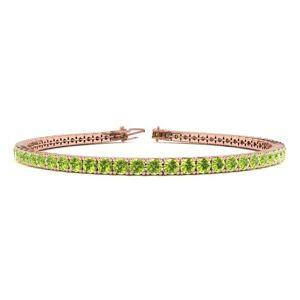 SuperJeweler 4 Carat Peridot Tennis Bracelet in 14K Rose Gold (9.4 g), 7 Inches by SuperJeweler