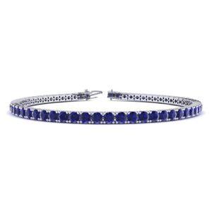 SuperJeweler 6 3/4 Carat Sapphire Tennis Bracelet in 14K White Gold (12.1 g), 9 Inches by SuperJeweler