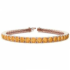 SuperJeweler 7 3/4 Carat Citrine Tennis Bracelet in 14K Rose Gold (10.3 g), 6 Inches by SuperJeweler