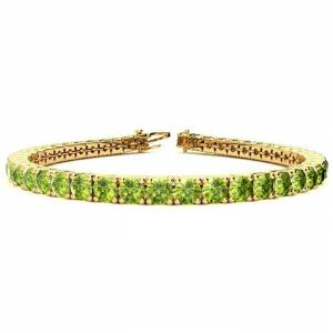 SuperJeweler 9 1/5 Carat Peridot Tennis Bracelet in 14K Yellow Gold (12 g), 7 Inches by SuperJeweler