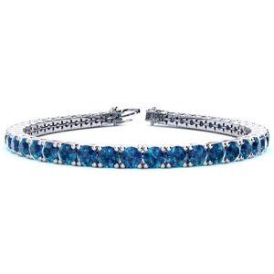 SuperJeweler 10 1/2 Carat Blue Diamond Tennis Bracelet in 14K White Gold (13.7 g), 8 Inches by SuperJeweler